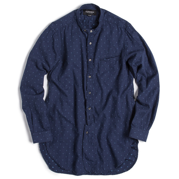 [EASTLOGUE] BANDED COLLAR LONG SHIRT 'NAVY DOT'
