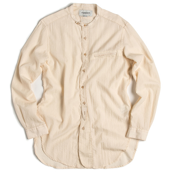 [EASTLOGUE] BANDED COLLAR LONG SHIRT VINTAGE 'OFF WHITE'