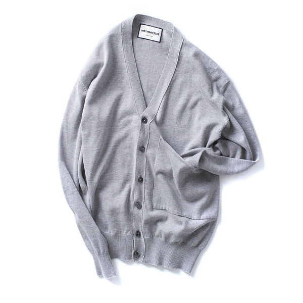 [BIRTHDAYSUIT] BIG POCKET KNIT CARDIGAN 'GREY'