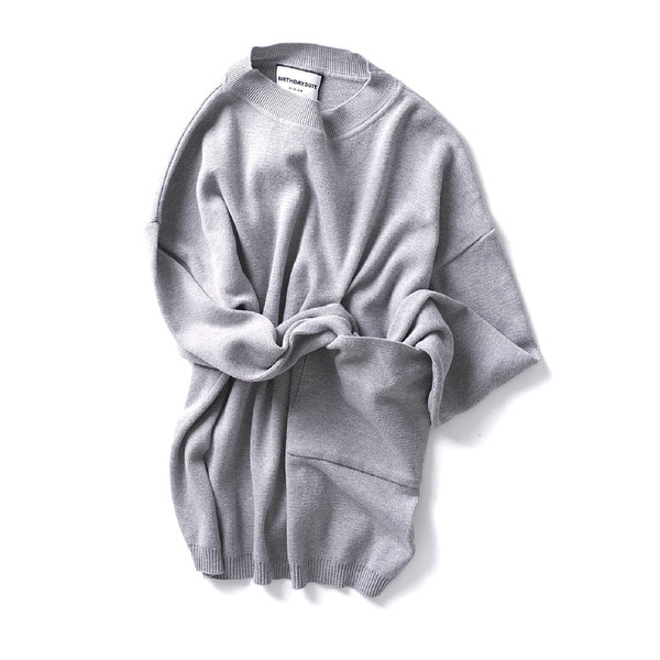 [BIRTHDAYSUIT] BIG POCKET KNIT PULLOVER 'GREY'