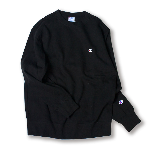 [CHAMPION] BASIC SMALL LOGO SWEAT SHIRT 'BLACK'