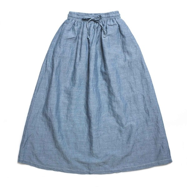 [CHIQUITA] L 2017 Linen Shirring Skirt 'Blue'