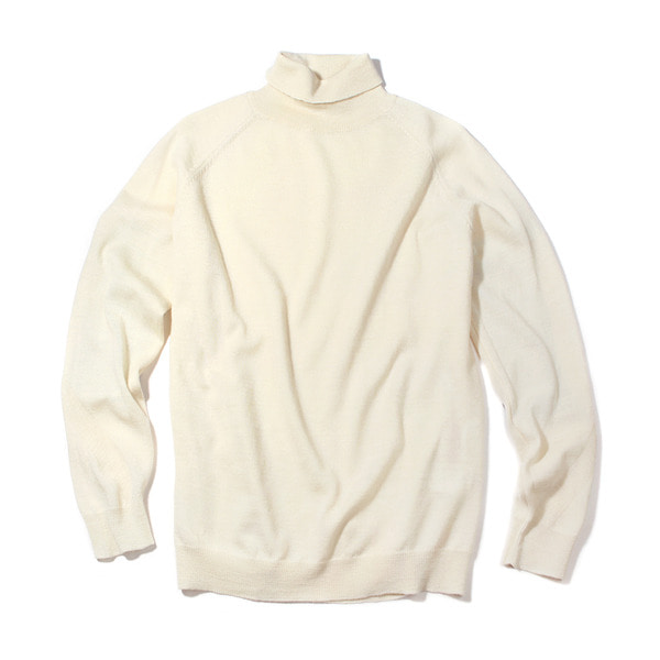 [FORUMWEAR] WOOL ROLL NECK ELBOW PATCH SWEATER 'IVORY'