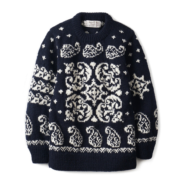 [ATHENA DESIGNS] PAISLEY F.I CREW SWEATER 'NAVY/WHITE'