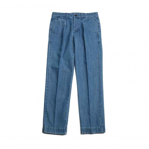 [HORLISUN] SONORA ONE TUCK DENIM TROUSERS 'LIGHT NAVY'