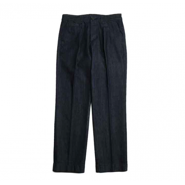 [HORLISUN] SONORA ONE TUCK DENIM TROUSERS 'DARK NAVY'