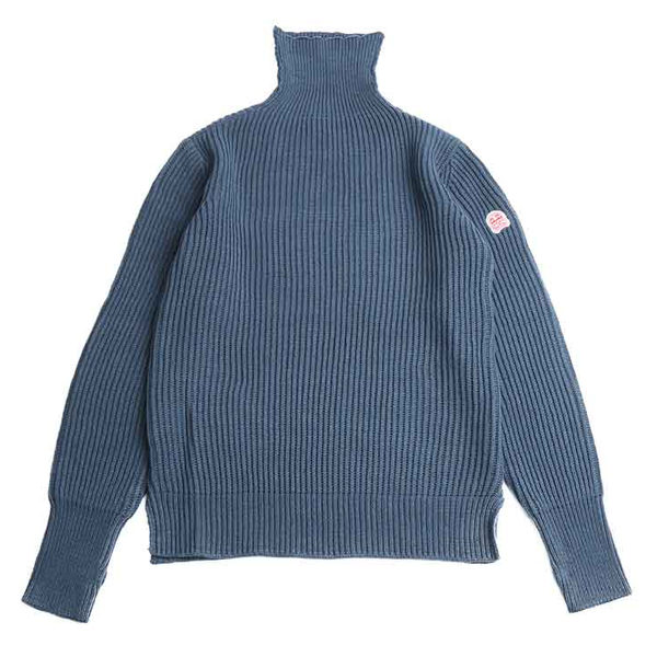 [HORLISUN] DUNDEE TURTLENECK SLIT KNIT 'INDIGO BLUE'