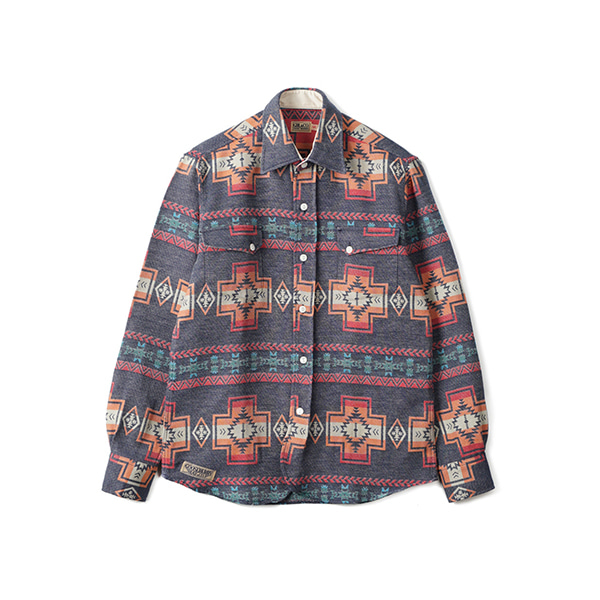 [GOOSEBERRY LAY & CO]NAVAJO DWIGHT RANCH SHIRT 'NAVY'