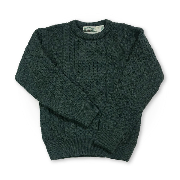 [ARAN CRAFTS] IRISH ARAN CREW NECK SWEATER C 1347 'MOSS GREEN'