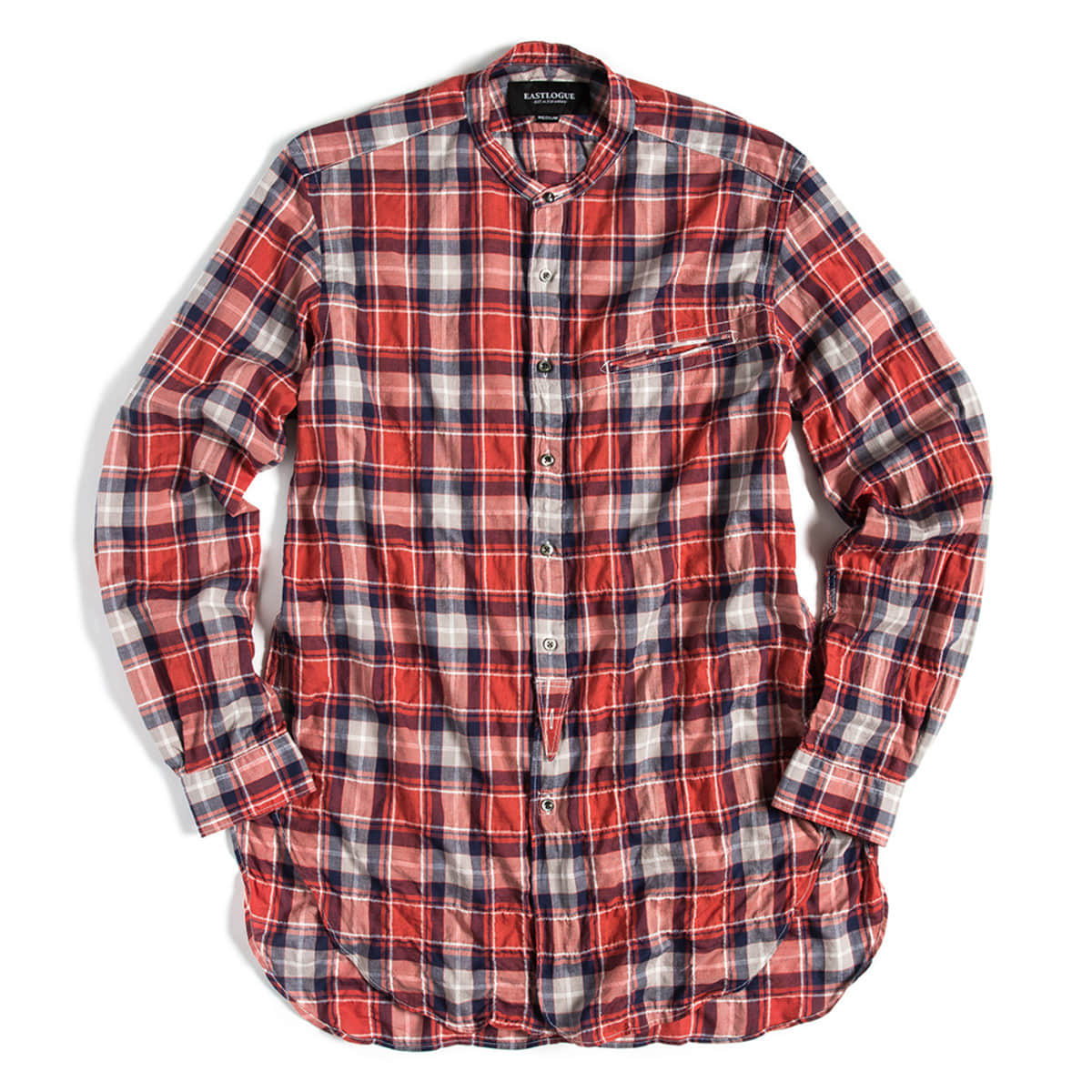 [EASTLOGUE] BANDED COLLAR LONG SHIRT 'RED & NAVY CHECK'