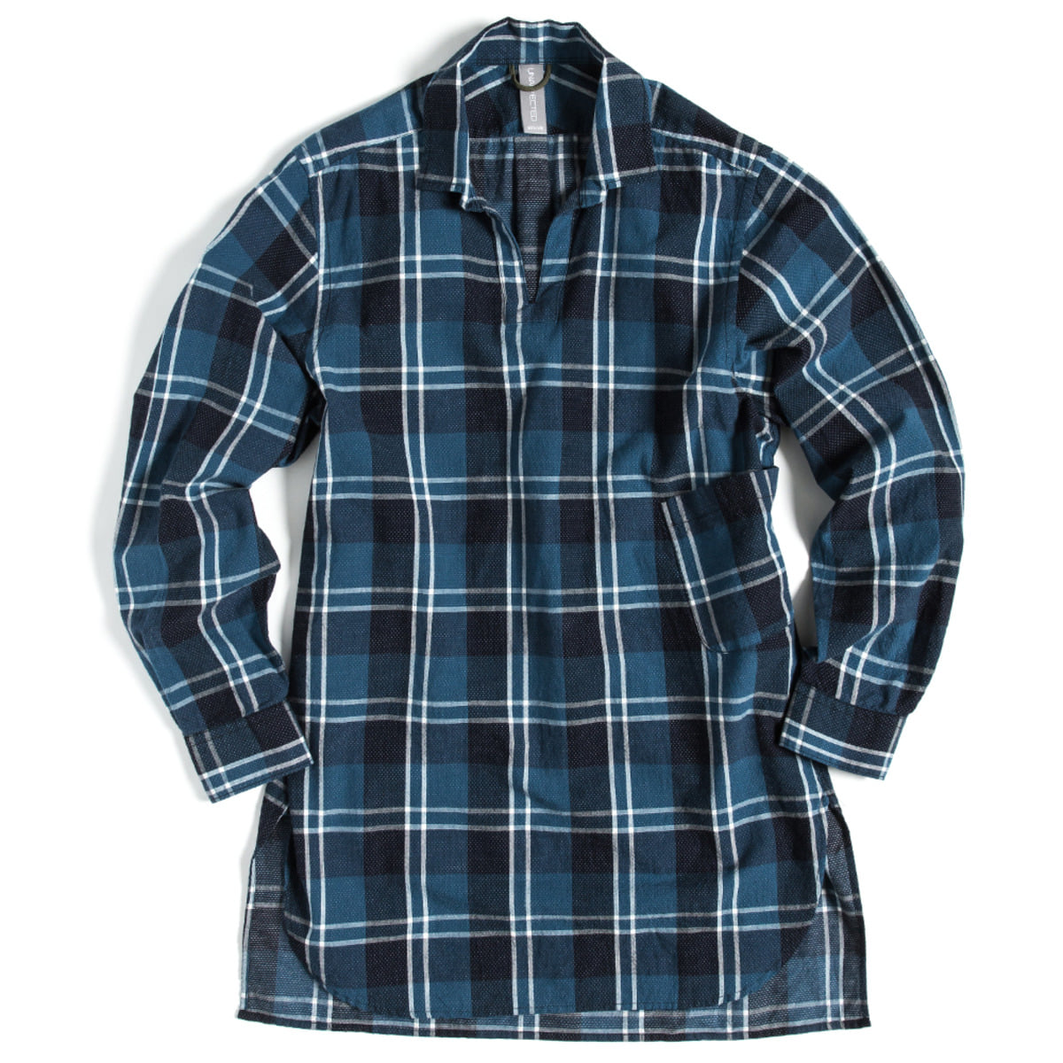 [UNAFFECTED] ONE PIECE COLLAR V-NECK SHIRT 'BLUE CHECK'
