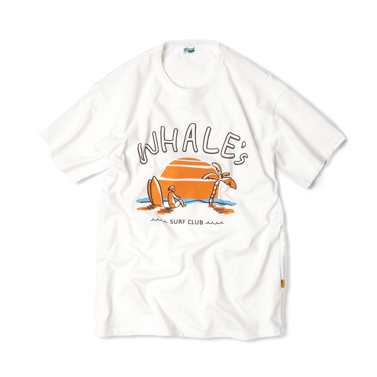 WHALE'S SURFER TEAM SUNSET BEACH T-SHIRTS 'BLEACHED WHITE'