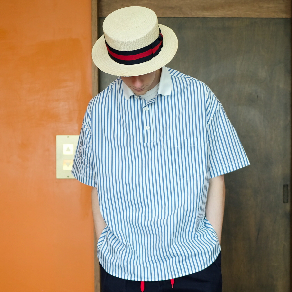 [DAILY INN] LOBBY BOY OVERSIZED PIQUE SHIRTS 'BLUE STRIPE'
