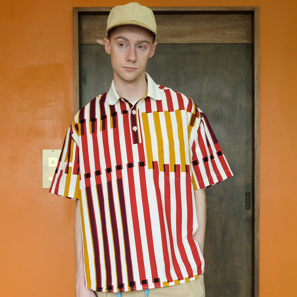 [DAILY INN] LOBBY BOY OVERSIZED PIQUE SHIRTS 'REMIX STRIPE'