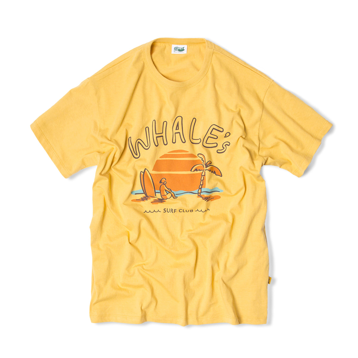 WHALE'S SURFER TEAM SUNSET BEACH T-SHIRTS 'SUNLIGHT YELLOW'
