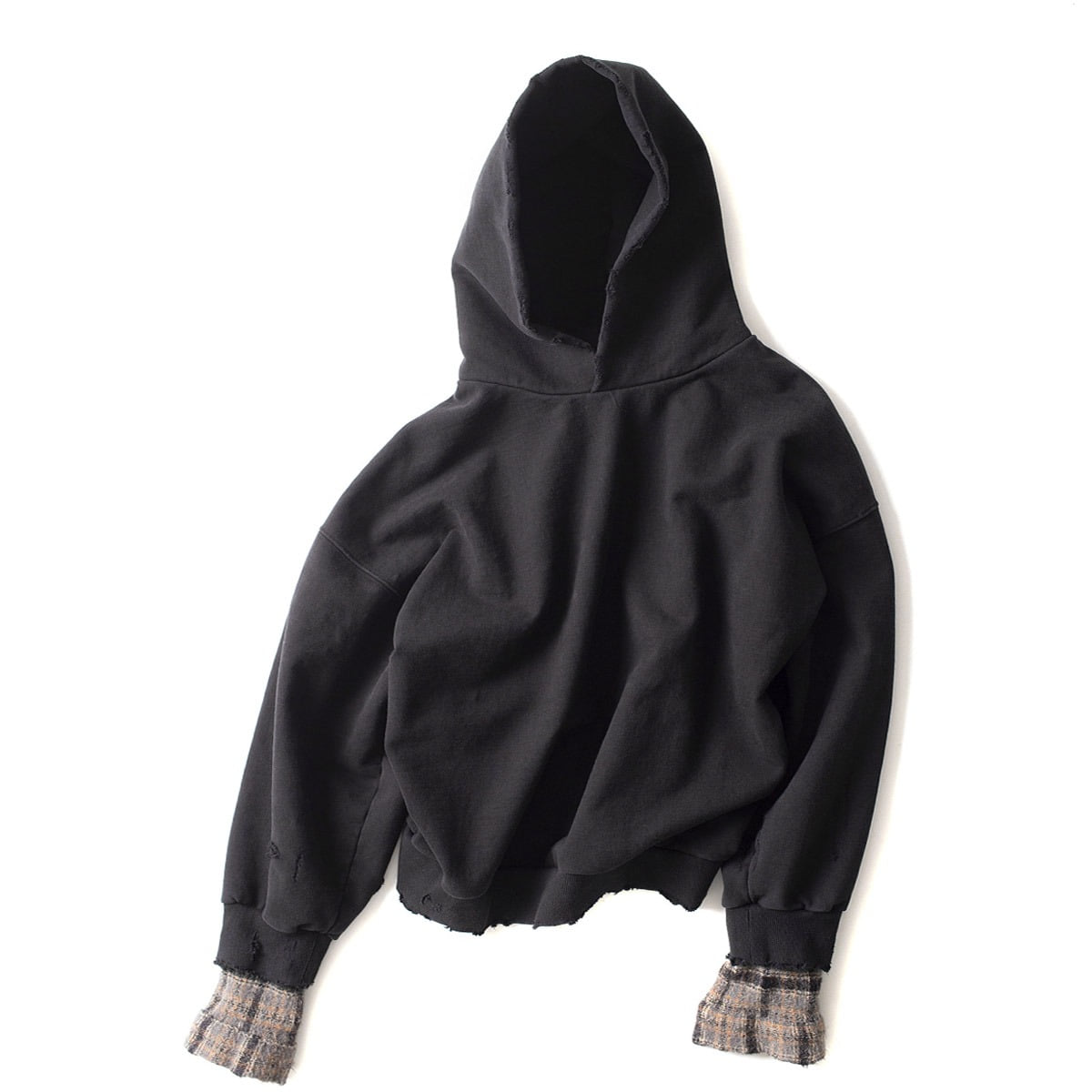 [BIRTHDAYSUIT] WOOL CHECK OVERSIZED HOODY 'BLACK'