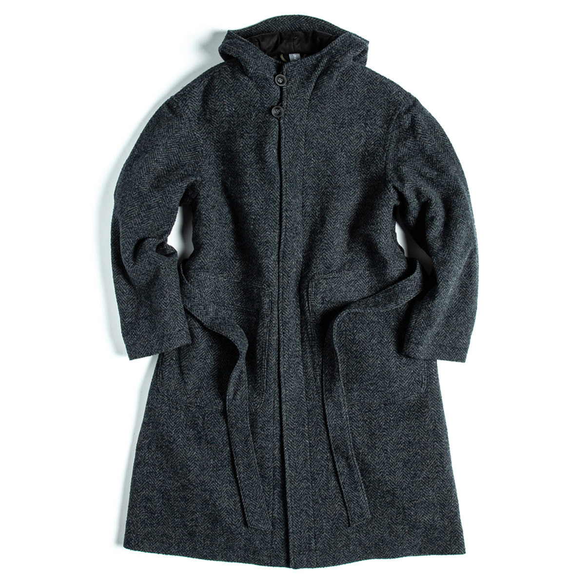 [UNAFFECTED] HOODED ROBE COAT 'CHARCOAL NAVY'