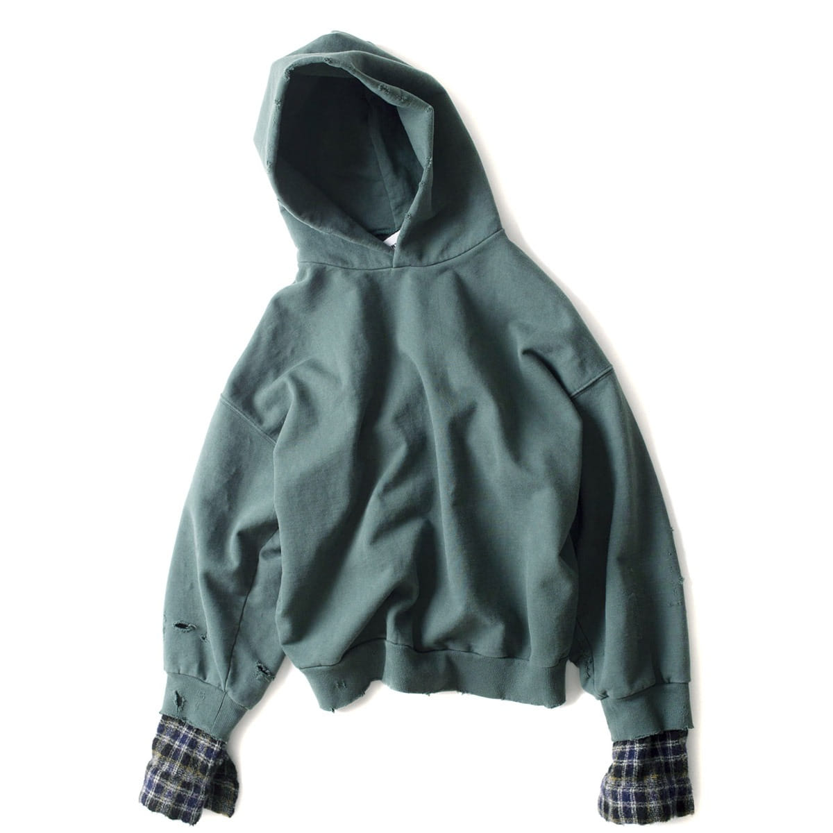 [BIRTHDAYSUIT] WOOL CHECK OVERSIZED HOODY 'GREEN'