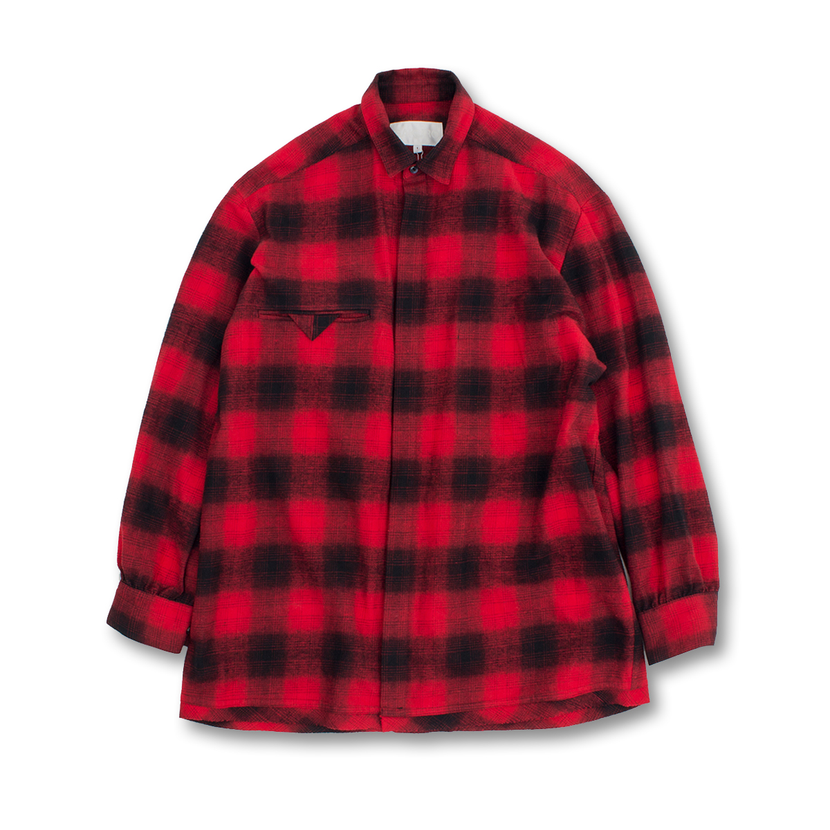 [GAKURO] SHIRING SHIRT 'RED OMBRE CHECK'
