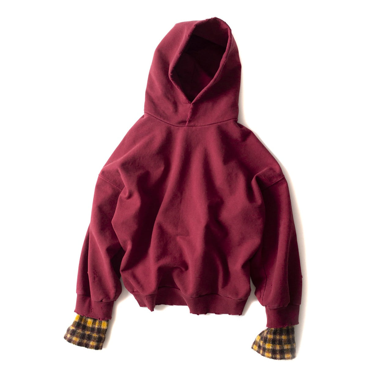 [BIRTHDAYSUIT] WOOL CHECK OVERSIZED HOODY 'BURGUNDY'