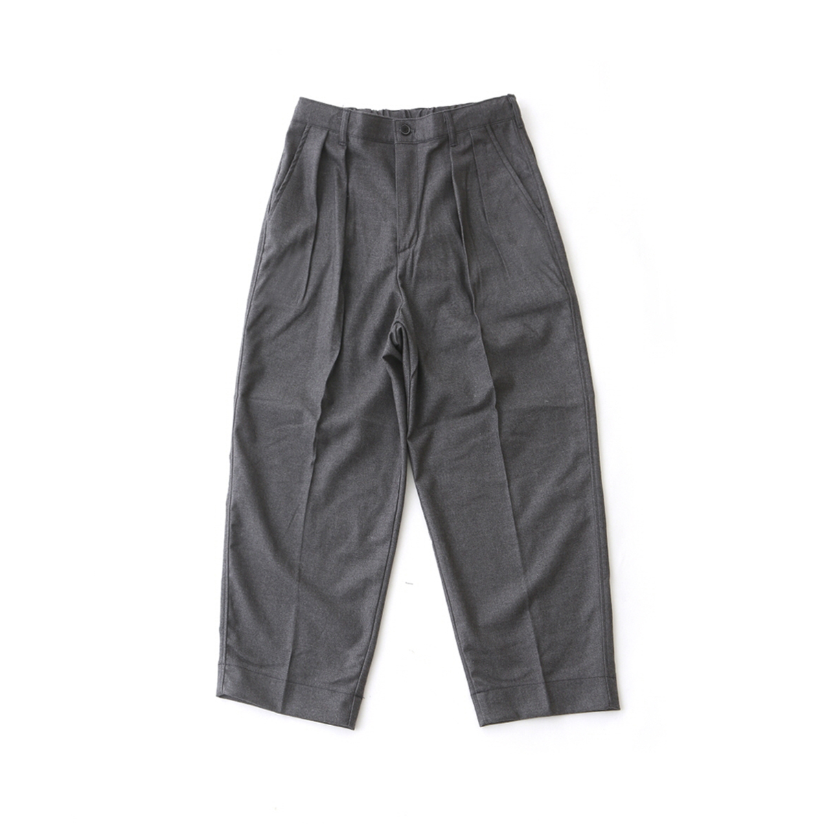 [DAILY INN] LOBBY BOY EASY WIDE TR WOOL PANTS / LOOSE TAPERED FIT 'CHARCOAL WOOL'