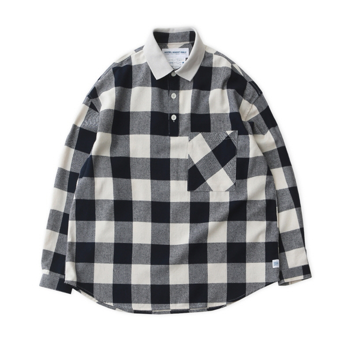 [DAILY INN] LOBBY BOY PIQUE FLANNEL OVERSIZED SHIRT 'BUFFALO NAVY'