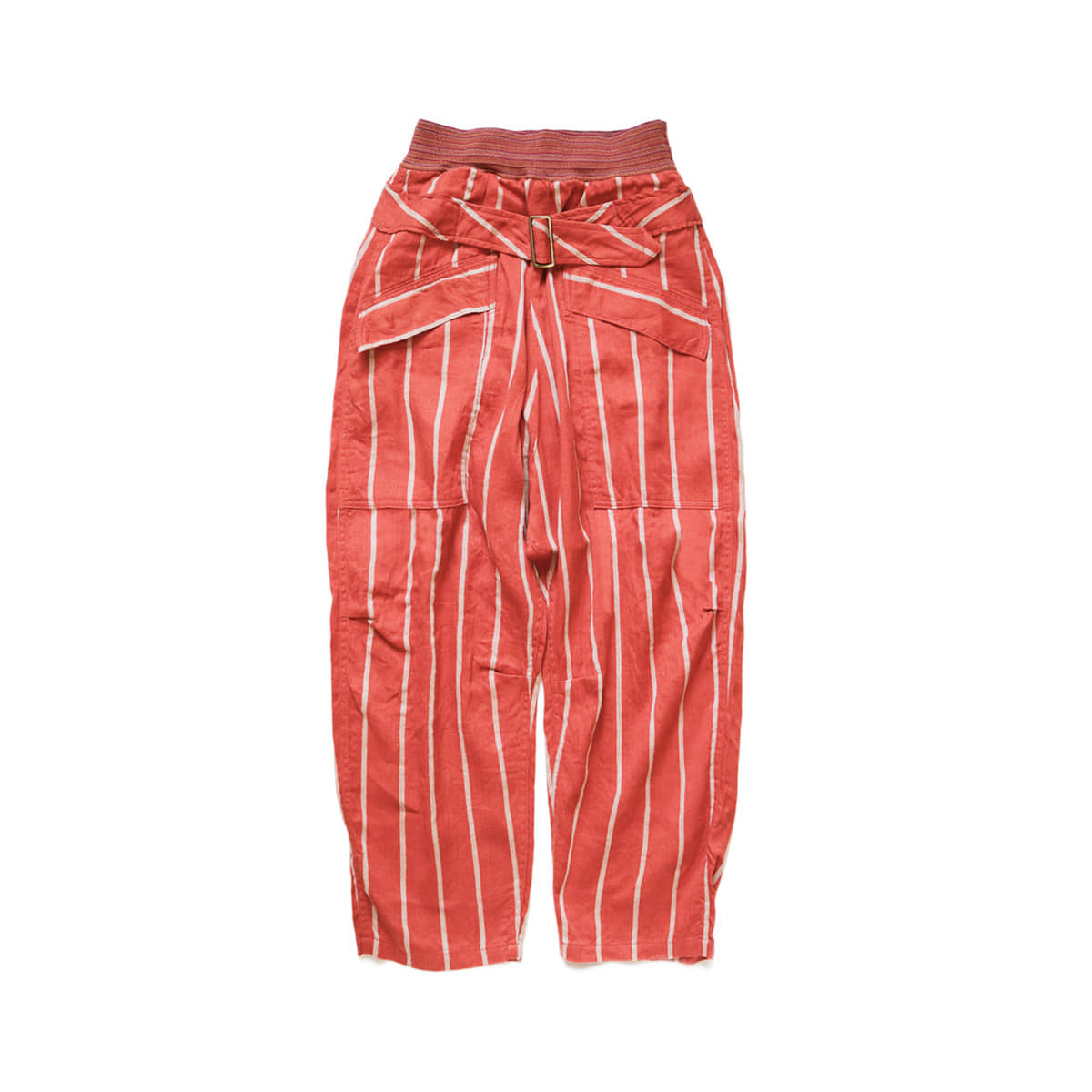 [KAPITAL] LINEN PHILLIES STRIPE AVIATOR SUIT PANTS 'RED'