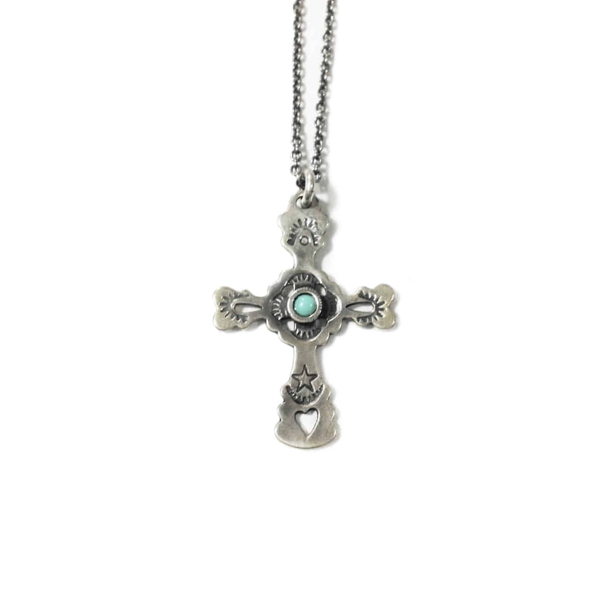 [NORTH WORKS] 900 SILVER STAMP & TQ CROSS NECKLACE 'W-029'